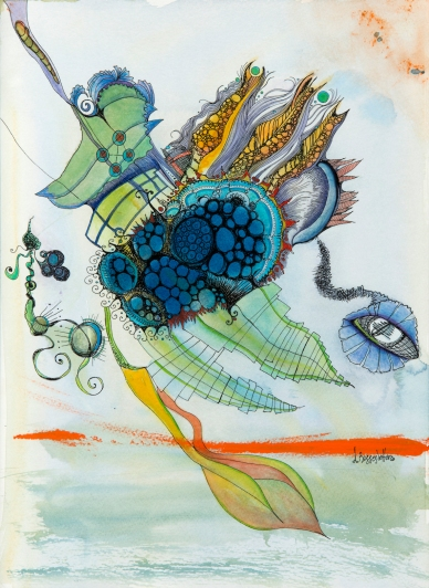 """""""Music Taking Off"""" Watercolor and Ink on paper 2014."""