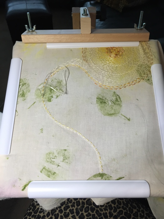 Embroidery in my Q-Hoop frame set in an Edmunds brand standing wood frame. Perfect for stitching.